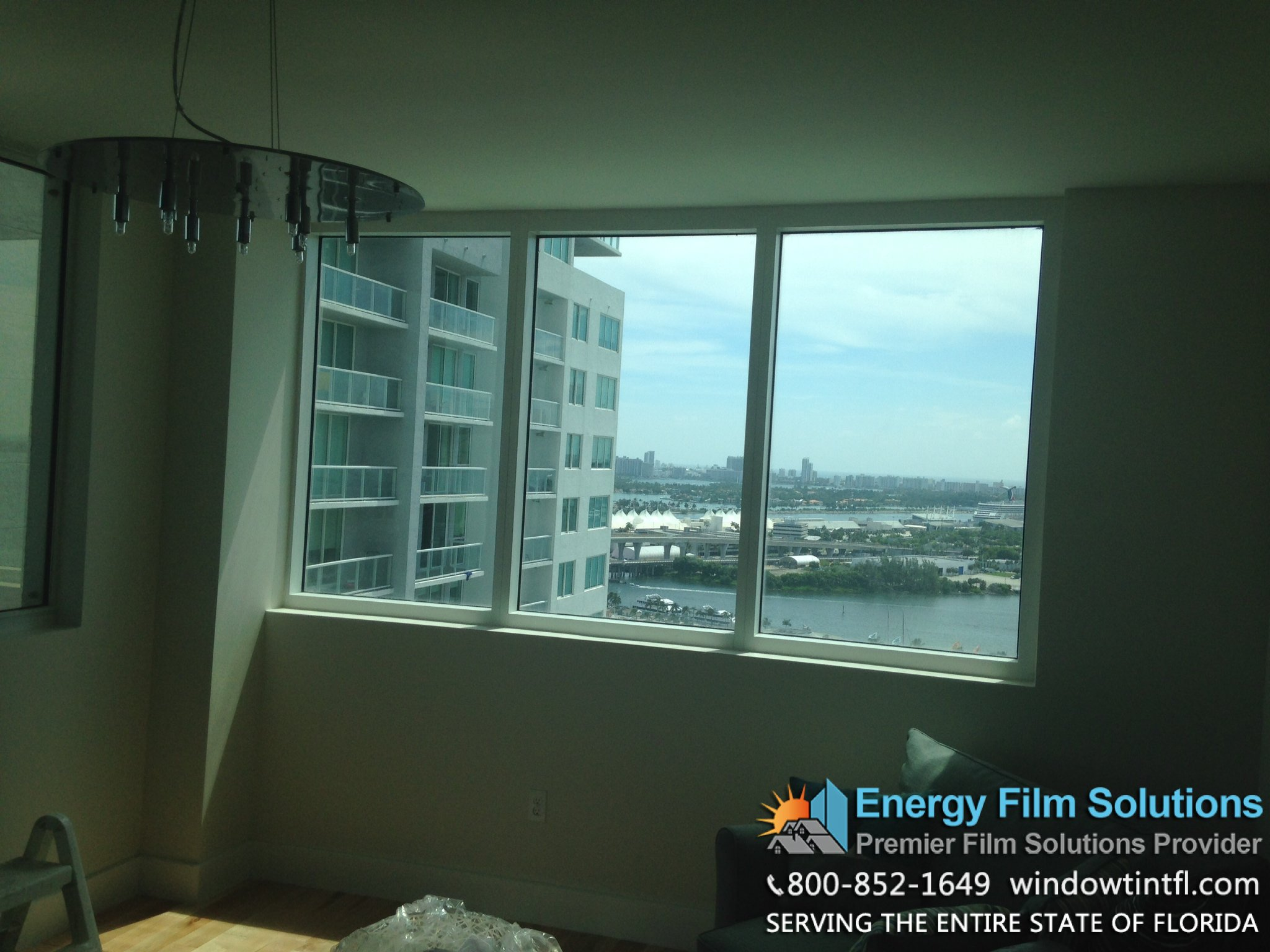 No home window film applied to Miami Condominium